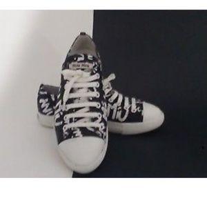 MIU MIU Women's Black Logo Printed Sneakers $645